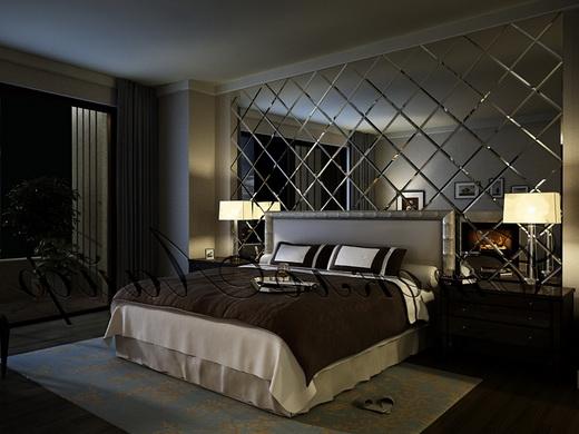 зеркальная плитка в спальне
