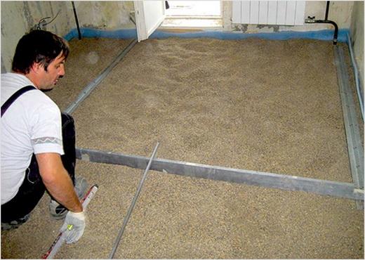 процесс укладки сухой стяжки