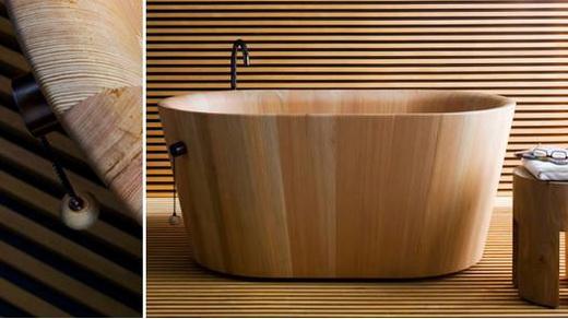 Дизайн ванны из дерева выполненный в японском стиле